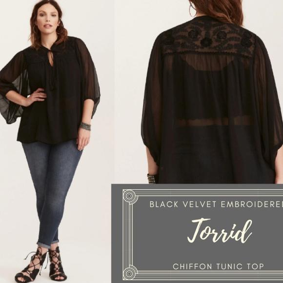 5f7fee47 torrid Tops | Nwot Velvet Embroidered Chiffon Tassel Tie | Poshmark